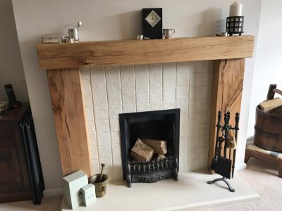 Contemporary Oak Beam Fire Surround with Tile Wall