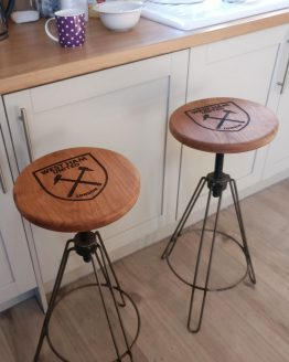 Adjustable Oak Bar Stool Available with Personalised Engraving