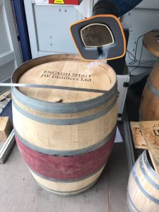 JW Distillers Ltd Wine Barrel Engraving in Progress