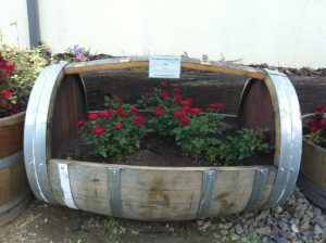Cradle Style Oak Barrel Planters with red roses