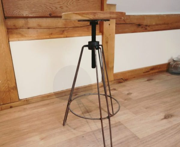 Oak Bar Stool with Metal Frame