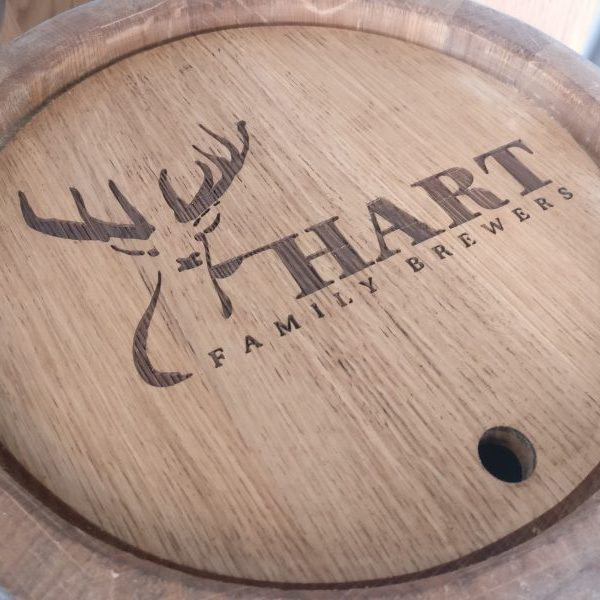 Hart Family Brewers Barrel Keg Logo Engraving