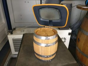 Before laser engraving - oak barrel keg with Stellacello's logo to be burnt on