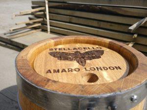 Stellacello Liqueur company oak barrel keg laser engraving