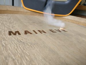 Main Event Catering Wine Barrel Laser Engraving in action