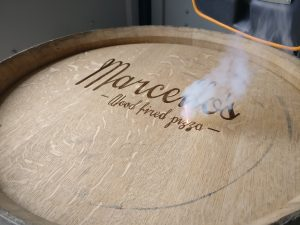 Marcellos Wood Fired Pizza Laser Engraved Wine Barrel