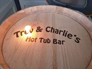 Trev and Charlie's Hot Tub Bar Acacia Wine Barrel Engraving