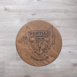 Laser Engraved Oak Bar Stool