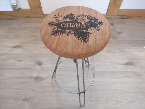 Laser Engraved Bar Stool with Ohana logo