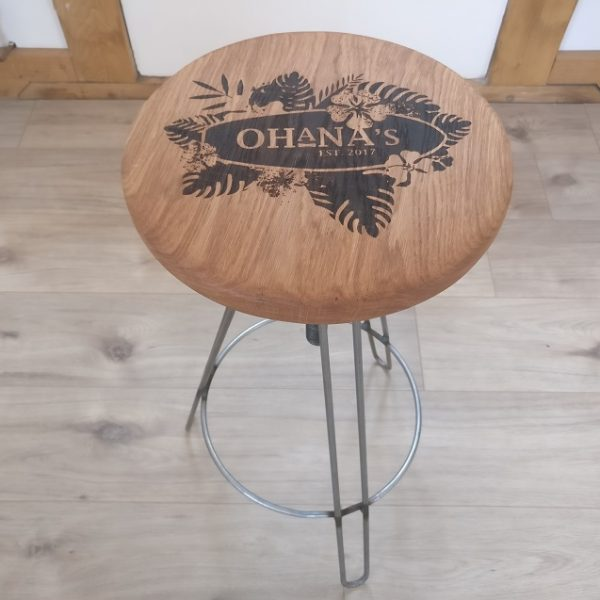 Laser Engraved Bar Stool with Ohana logo