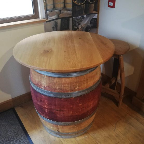 Red Wine Barrel Table with Stools and Oak Table Top