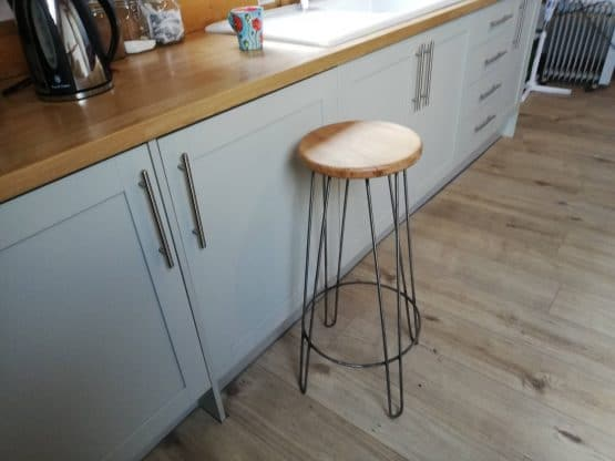Solid Oak Kitchen Bar Stool with Iron Frame