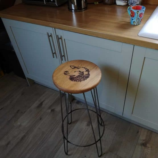 Solid Oak Kitchen Bar Stool with iron Frame and Engraved Image
