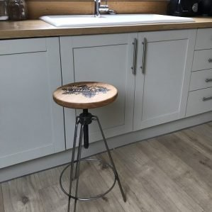Personalised Laser Engraved Bespoke Bar Stool in Kitchen