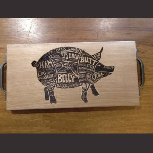 Piggy Laser Engraved Chopping Board Cast Iron Handles
