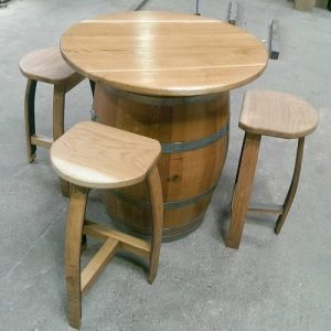 Oak Barrel Table with Stools