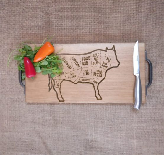 Oak Chopping Board with Cow Meat Cuts Engraved and Metal Handles