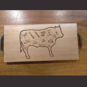 Cow Laser Engraved Chopping Board with Cast Iron Handles