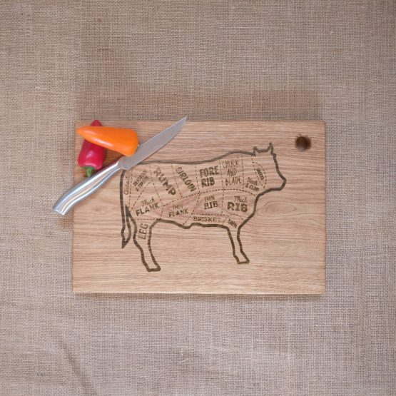 Oak Chopping Board with Cow Beef Meat Cut Engraving