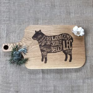 Oak Chopping Board with Handle and Lamb Sheep Meat Cut Engraving