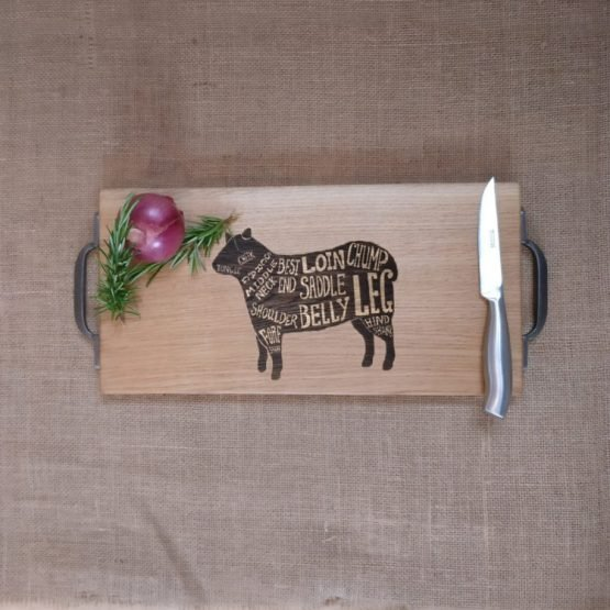 Chopping Board with Lamb Meat Cuts Engraved and Metal Handles
