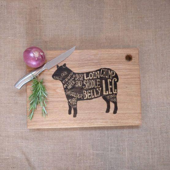 Oak Chopping Board with Sheep Lamb Meat Cut Engraving