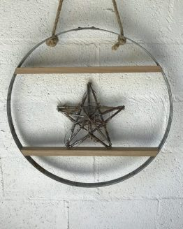 Solid Steel Barrel Hoop with Kiln Dried Oak Shelves