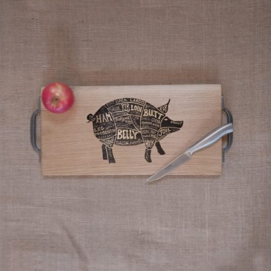 Chopping Board with Pig Pork Meat Cuts Engraved and Metal Handles
