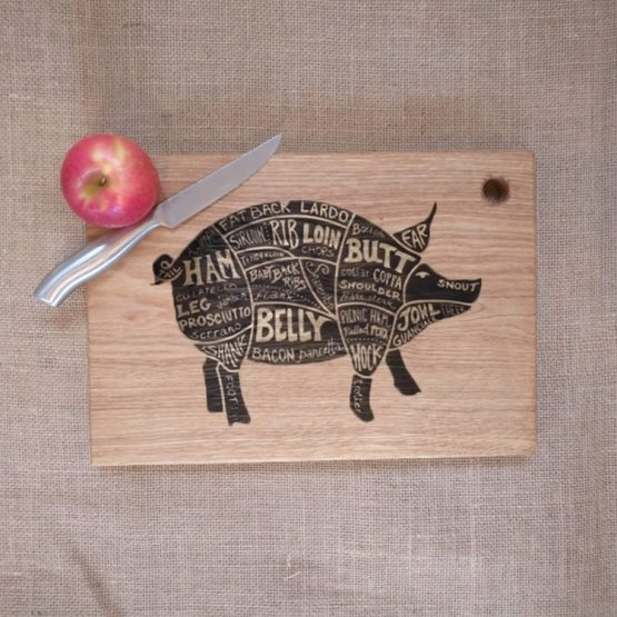 Oak Chopping Board with Pig Pork Meat Cut Engraving