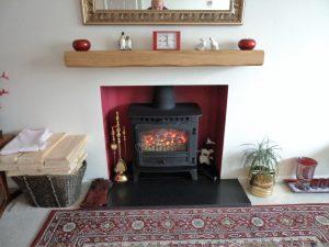 Lightly Worked Oak Beam Mantelpiece