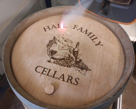 Engraved Wine Barrel Lid