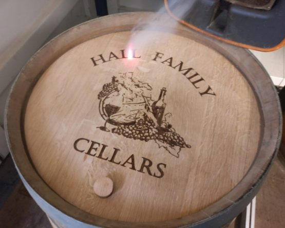 Engraved Oak Wine Barrel Lid with Branded logo