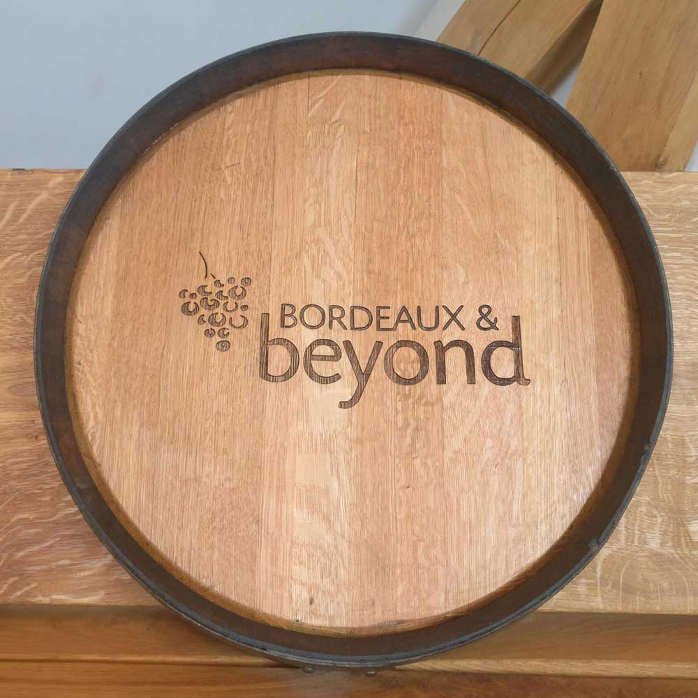 Oak Wine Barrel Lid with Personalised Logo Engraving Branding