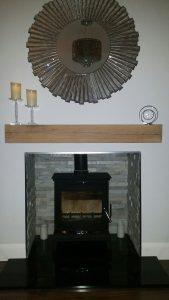 Contemporary Finish Oak Beam above Log Burner