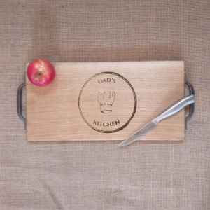 Fathers Day Gift Dads Kitchen Chopping Board Laser Engraved with Cast Iron handles