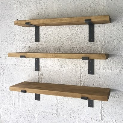 Beautiful pine shelving with Cast Iron Brackets