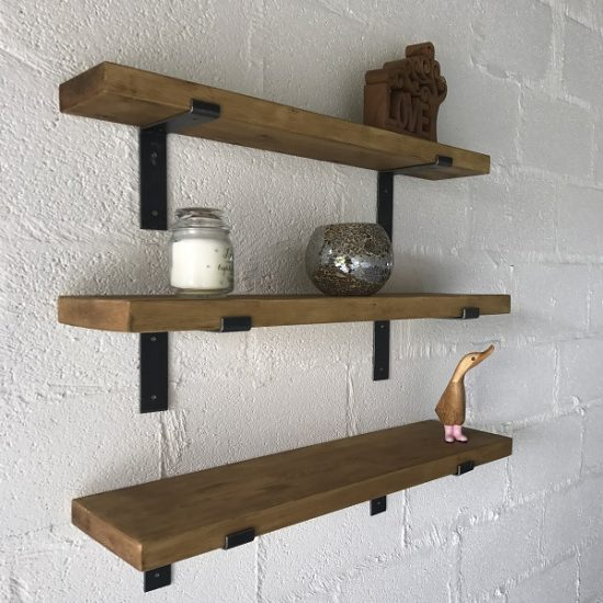 Rustic Pine Shelves with Metal brackets