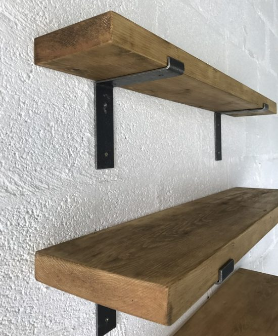 Solid Pine Shelving with L-Shape Brackets