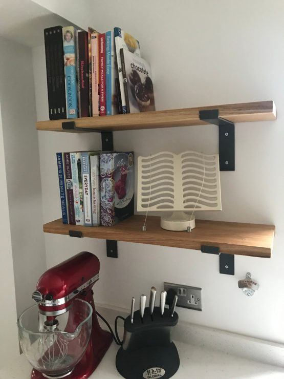 Solid Oak Kitchen Shelves with L-Shape Brackets