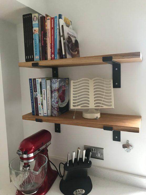Solid Oak Kitchen Shelves with L-Shape Brackets