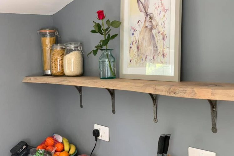 Oak Shelves with Brackets and Natural Live Edge
