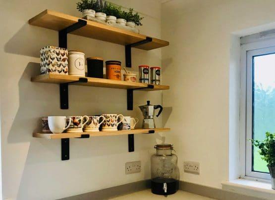 Oak Shelves with L Shape Brackets
