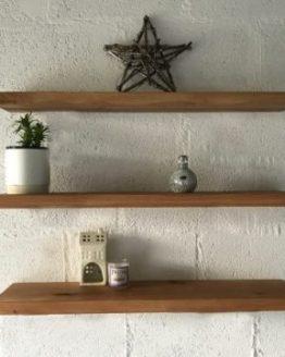 Oak Shelves with Straight Brackets