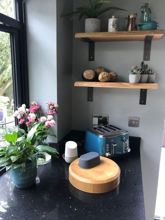 Oak Shelves with Brackets for Kitchen
