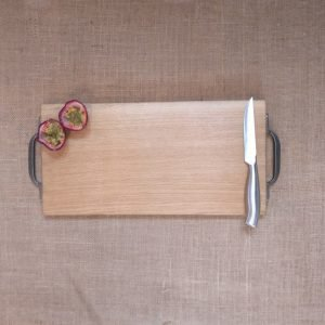 Cast Iron handles Oak Chopping Board