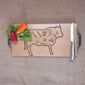 Laser Engraved Cow Chopping Board with Cast Iron Handles