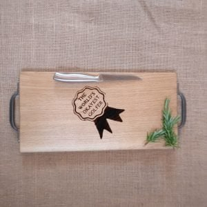 Golfer Gift Laser Engraver Chopping Board with Cast Iron Handles