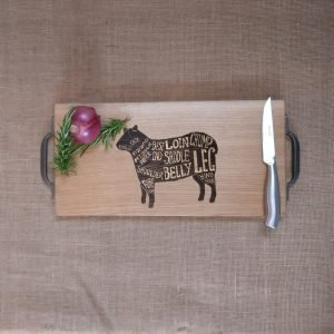 Lamb Laser Engraved Chopping Board with Cast Iron Handles