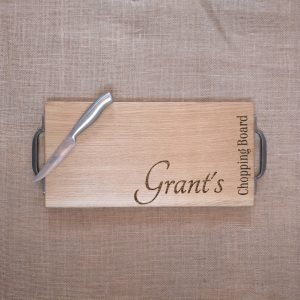Laser Engraved Chopping Board with Cast Iron Handles and personalised Name Engraved
