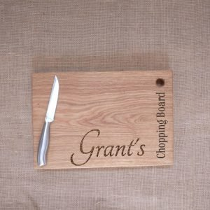 Laser Engraved Chopping Board with no Handles and Personalised Name Engraved